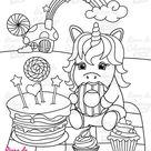 Licorne et gâteau d'anniversaire Coloriage licorne pour les enfants