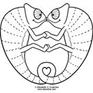 Coloring Page Tuesday - Kissing Chameleons