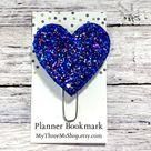 Glitter Blue Heart Feltie Clip, Chunky Glitter Feltie Clip, Heart Planner Clip, Glitter Heart Bookma