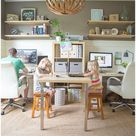 Perfect fix for a computer/study room. Just enough room for everyoneOffice Ideas, Families Offices, Office Spaces, Lights Fixtures, Offices Spaces, Work Spaces, Workspaces, Offices Ideas, Home Offices