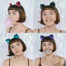 Purple Glitter Cat Ears Headband, Halloween Glitter Cat Ears Headband, Purple Glitter Kitty Headband, Party Cat Ears Headband