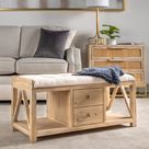 Selma Wooden Bench with Storage (Fabric - MDF/Reclaimed Wood), Beige