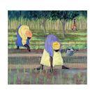 Giclee Painting: Willis' Women Gardening, 2005, 24x24in.