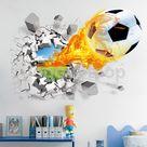 £3.73 GBP - 3D Football Break Thr Wall Art Stickers Vinyl Decal Kids Favor Bedroom Mural #ebay #Home & Garden