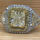 Art Deco 2.71 Ct Radiant Yellow Diamond Engagement Ring   Etsy