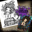 PRINTABLE Mermaid Digi Stamp Chelsea Mermaid Coloring Page Fun Fantasy Art Hannah Lynn