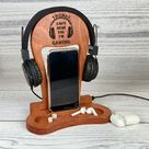 Wooden Docking Station, Mens birthday gift, Perfect Gift for husband and Dad, who have everything, wood dock station, items organized