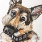 Custom pet portrait, dog portrait, dog owner, custom pet painting, German shepherds gift for husband FIRST ANNIVERSARY paper gift COuples