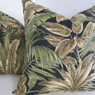 Palm Print Pillow Covers-Black Green Brown Outdoor Pillows | Etsy