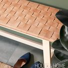 DIY: Woven Leather Bench