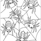Six Cute Spider on Spider Web Coloring Page