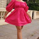 Midi Outfit Puff-sleeved Pink Poplin Dress