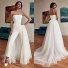 Elegant Wedding Jumpsuit /Bohemian Wedding Dress /A Line Robes De Mariée /flare Train Bridal Pants Suit
