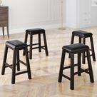 4-Pieces Counter Height Dining Stools With Wood Leg, Dining room (Brown)
