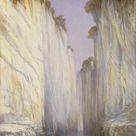 Edward Lear, 1882 - The Marble Rocks - Nerbudda Jubbolpore - fine art print - Canvas print / 20x30cm - 8x12