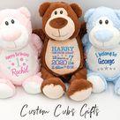 Personalised Teddy Soft Toy, Cute Animal Toy, Newborn Gift, Birth Details, New Mum Gift, Baby Boy Toy, Baby Girl Toy, Pink Teddy Bear