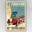 1934 Monaco Grand Prix Automobile Road Racing Poster - 20x30