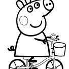 Peppa pig on bike cartoon coloring pages for kids, printable free