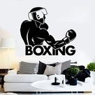 Vinyl Wall Decal Boxing Word Boxer Fight Club Sports Stickers Unique Gift (ig4563)XL 45 in X 54 in / Black