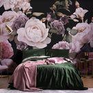 Purple & Pink Dark Floral Wallpaper Mural