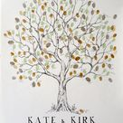 Fingerprint Wedding Guest Book Olive Tree, Family Reunion Family Tree, Rustic Birthday Anniversary or Wedding Gift