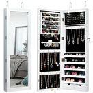 Costway Lockable Wall Mount Mirrored Jewelry Cabinet Organizer Armoire w/ LED Lights - Walmart.com