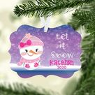 Personalized Snowgirl Kids Christmas Ornament, Ornaments for Girls, Snowgirl Christmas Ornament, Sto