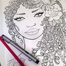 Printable Adult Coloring Page / DIY Wall Art / Curly Hair   Etsy