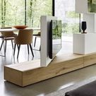 Livitalia Roto Lowboard Raumteiler mit drehbarem TV Paneel