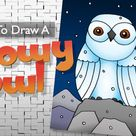 How to Draw a Winter Snowy Owl ☃️Winter ❄️ Easy ☃️ Step by Step ☃️FrazierTales❄️