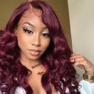 Alimice Ombre Colored Wig Body Wave 180% Density 4X4 HD Transparent Lace Closure Wig 100% Human Virgin Hair