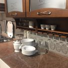 Brown kitchen cabinets with frosted glass for doors - Home Decorating Trends - Homedit