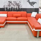 [Summer Special ] Pivot Large Sectional with Adjustable Headrest - Orange & White / Top Grain Italian Leather / Left Hand Facing Chaise