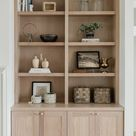 White Oak built-ins using CKF Signature cabinets in white oak sand stain