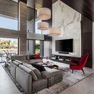 Modernes Wohnzimmer | Hängeleuchte | Roter Stuhl
