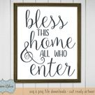 Bless This Home and All Who Enter svg cut file.  Farmhouse Decor svg file.  Rustic Home decor svg.  Farmhouse Welcome Sign svg.
