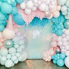 Pink And Blue Glitter Balloon Arch For Baby Shower And  Birthday Party