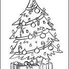 Ausmalbild - Weihnachtsbaum und Geschenke zum Ausdrucken