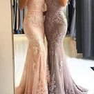 Sweetheart Spaghetti Straps Lace Mermaid Floor Long Custom Evening Prom Dresses, 17424 - US6 / Picture color