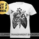 Anatomical Lungs Clipart T-Shirt Designs Anatomy Print Tattoo Idea Gothic Poster Human Organs Painting