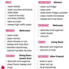 Free Printable Cleaning Schedule - Daily, Weekly, and Monthly Checklists