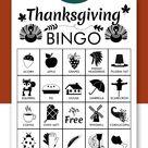 Thanksgiving Bingo Cards: Printable bingo cards black and | Etsy