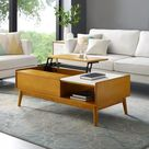 CROSLEY Landon 48 in. Acorn Large Rectangle Wood Coffee Table with Lift Top-CF6120-AC - The Home Depot