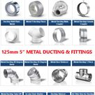 Metal 5 inch Ducting Pipe Ventilation Extractor Fan fittings for 5 dia 125mm
