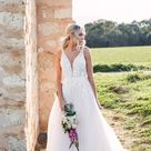 Lace and Tulle A-Line Wedding Dress with 3D Details - Essense of Australia Wedding Dresses
