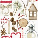 Watercolor Individual Christmas clip art. High-quality separate winter clipart. Lantern, Pine cone, red berries, ribbon, holiday essentials.