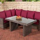 Clp Bermeo Lounge Dining Set - Poly rotan - kleur van 5 mm rotan bruin gemeleerd - Overtrek robijnrood