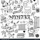 Winter Doodles Collection Stylish Design Elements Stock Vector (Royalty Free) 221445964