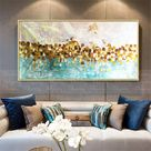 Gold art abstract paintings on canvas wall art picture for living room home wall decor original gold