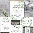 Greenery Wedding Bundle, Eucalyptus Wedding Suite Bundle Templates, White Floral Invitation Set, Editable Text, 24 Pieces, Instant Download